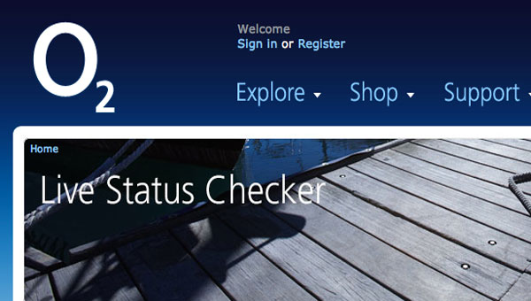 O2 network service status page is back