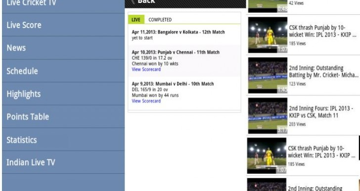 ODI cricket live score and streaming apps