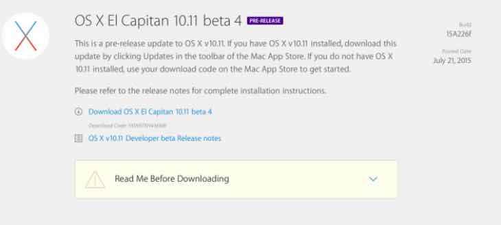 OS X 10.11 El Capitan beta 4 bugs