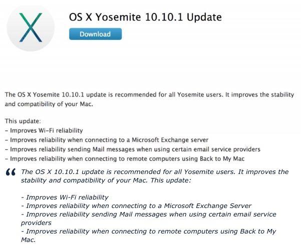 OS X Yosemite 10.10.1 resloves problems