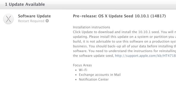 OS X Yosemite 10.10.1 update