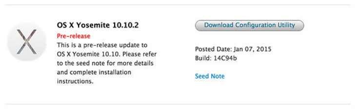 OS X Yosemite 10.10.2 public release