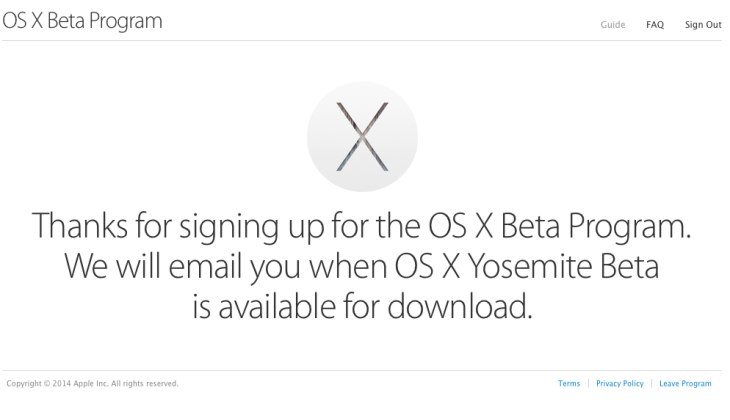 OS X Yosemite beta program sign up today