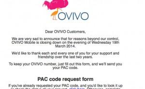OVIVO Mobile down, starts number transfer