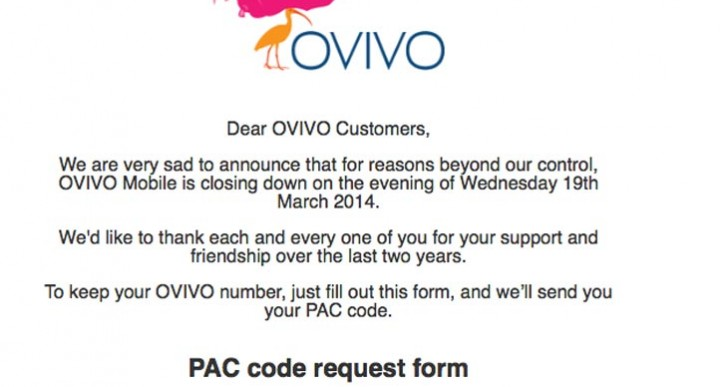 OVIVO Mobile down, starts number transfer