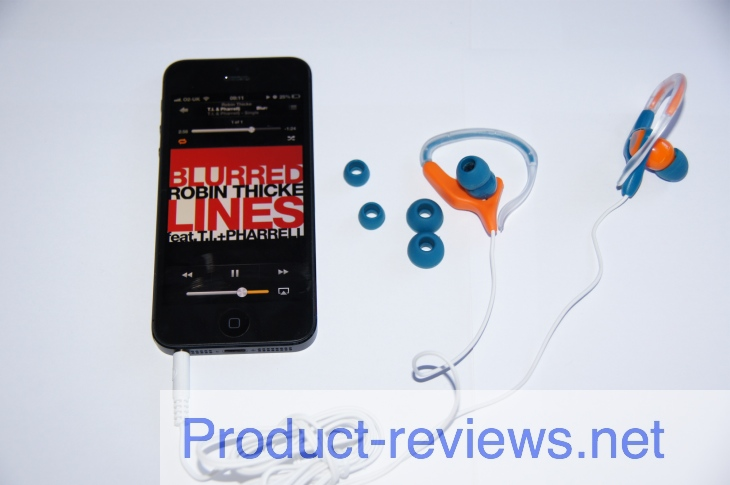 The Wicked Audio Helix earphones connected to our iPhone 5