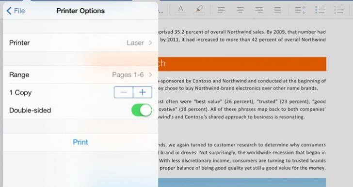 Office for iPad updates missing features