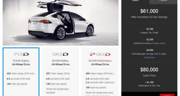Official Tesla Model X interior configuration price list