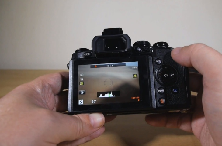 The Olympus OMD EM-1 camera display detailed