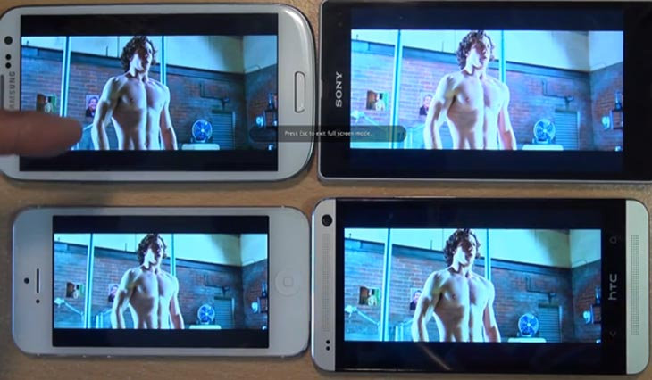 HTC One vs. Samsung Galaxy S3, iPhone 5 and Xperia Z by display