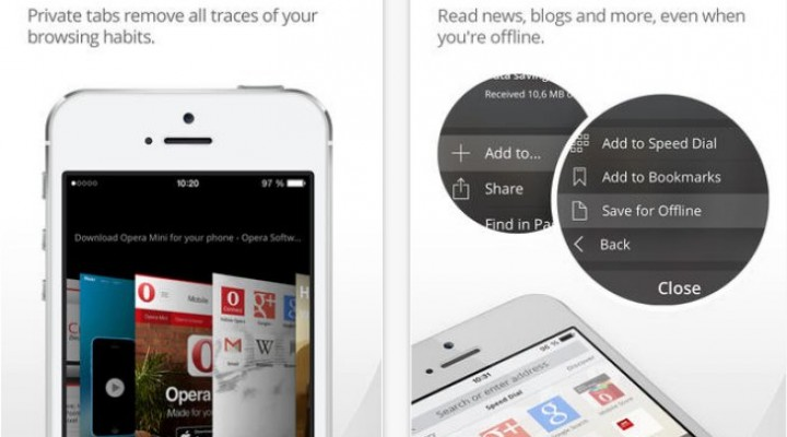 Opera Mini 8.0.1 update on iOS
