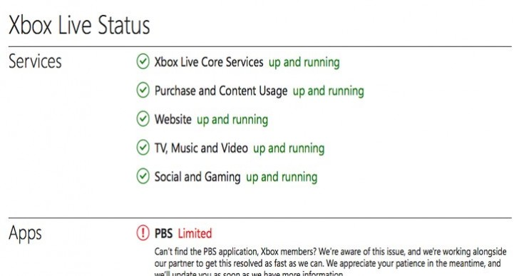 PBS app not working on Xbox 360