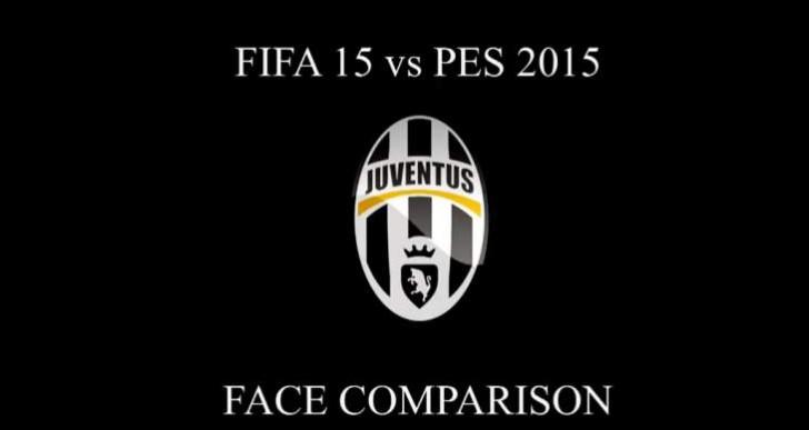 PES 2015 vs FIFA 15 in Juventus face comparison