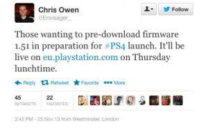 PS4 1.51 firmware update release time