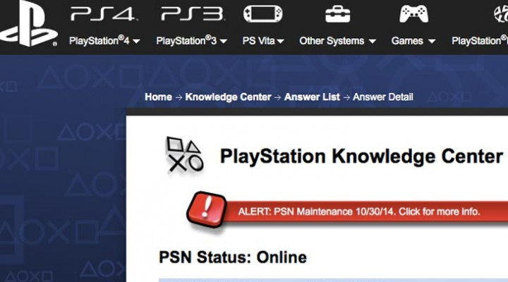 PSN maintenance today 10/30, down for 2 hours