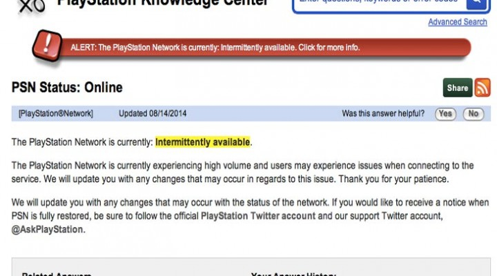 PSN status confirms not working, down in USA