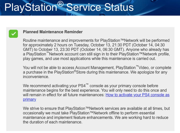 PSN status reveals Oct 13 maintenance at US prime time – Product
