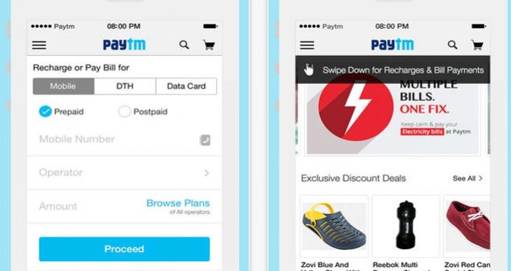 Paytm recharge app for Android, iPhone