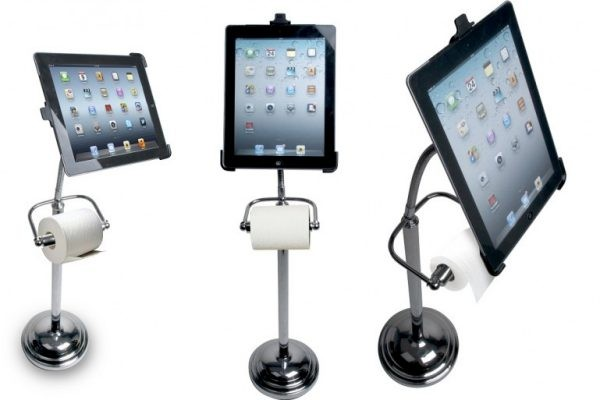 Pedestal Stand uses an iPad for bathroom breaks