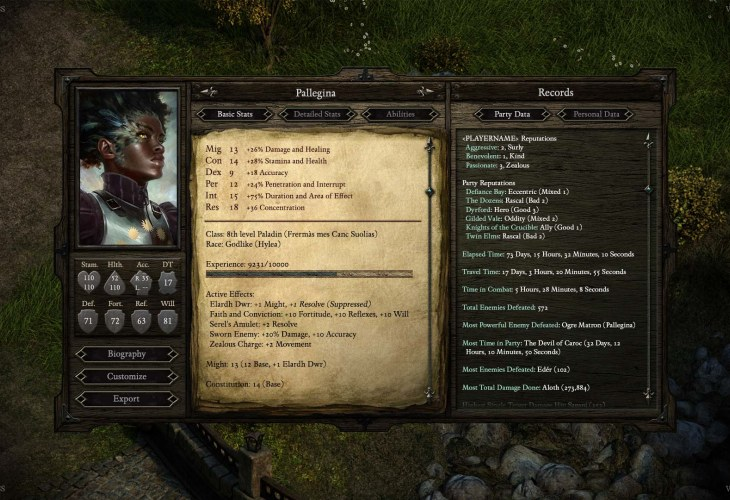 Pillars of Eternity character sheet stats