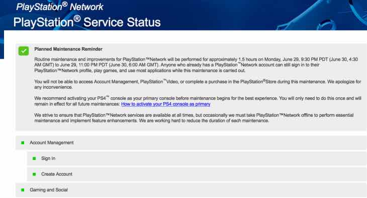 PlayStation Network down today