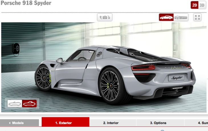 porsche 918 spyder options list still no price product. Black Bedroom Furniture Sets. Home Design Ideas