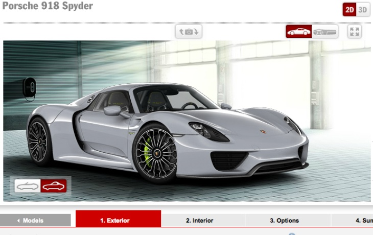 Porsche 918 Spyder options list, still no price