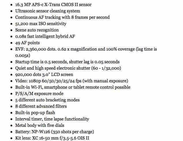 Predicted Fujifilm X-T10 specs