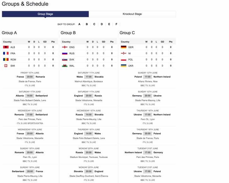 Printable Euro 2016 PDF TV schedule