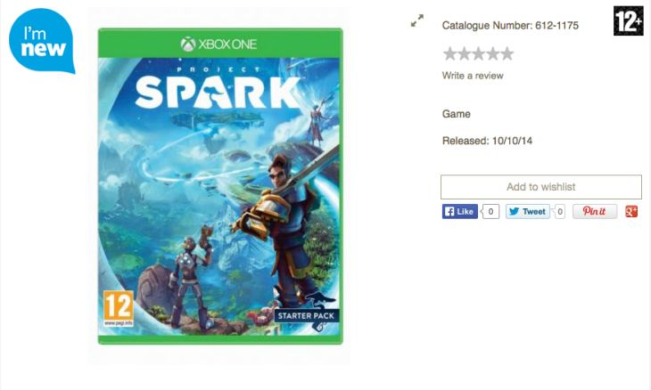 Project Spark price at Tesco