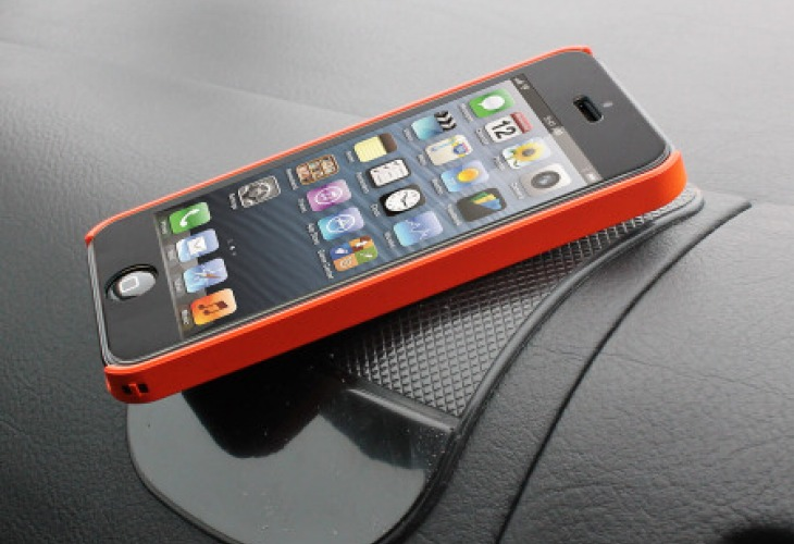 In the car with the Tree Frog Anti-Slip Dashboard Pad keeping an iPhone in place