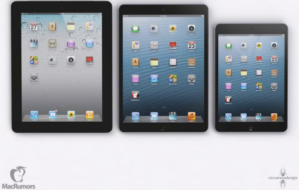 Radical iPad 5 realized in renderings against siblings