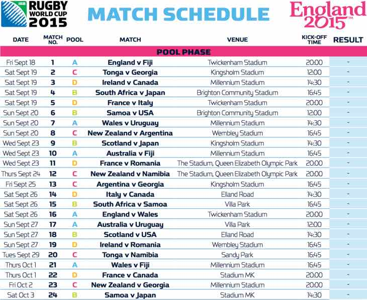 Rugby World Cup 2015 PDF schedule