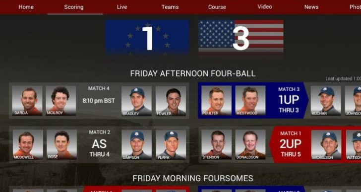 Ryder Cup 2014 standings in Android, iOS app