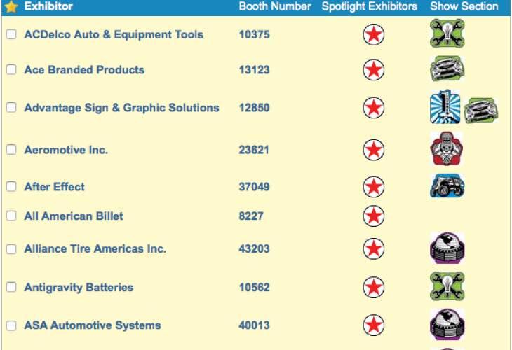 SEMA 2014 exhibitor list