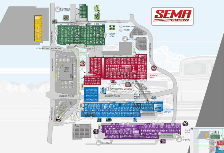 SEMA 2014 exhibitor list and floor plan
