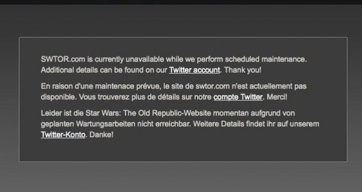 SWTOR down for Oct 5 launcher maintenance