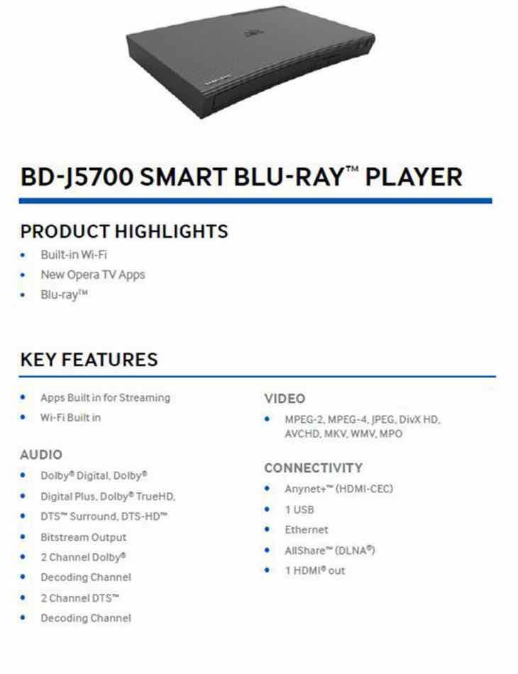 Samsung BD-J5700:ZA 2D BluRay player specs