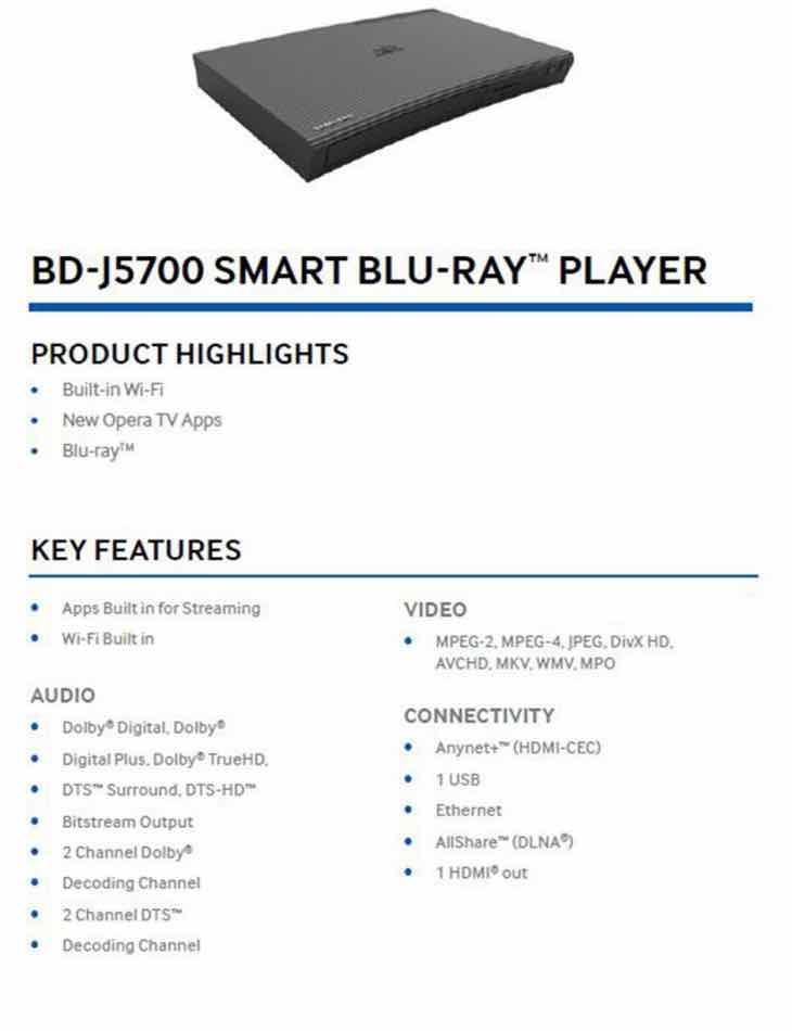 Samsung BD-J5700:ZA 2D BluRay player specs