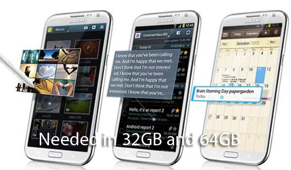 Samsung Galaxy Note 2 demanded in 32GB / 64GB
