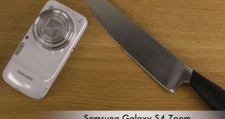 HTC One vs. Galaxy S4 Zoom, Mega 6.3 in knife test