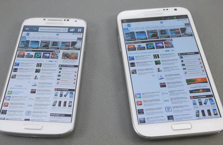 Samsung Galaxy S4 vs. Note 2 in visual showcase