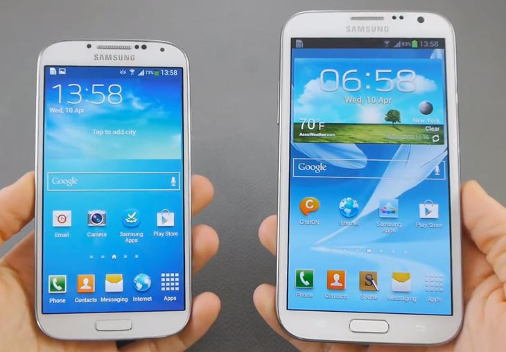 Samsung Galaxy S4 vs. Note 2 in visual showcase | Product Reviews Net