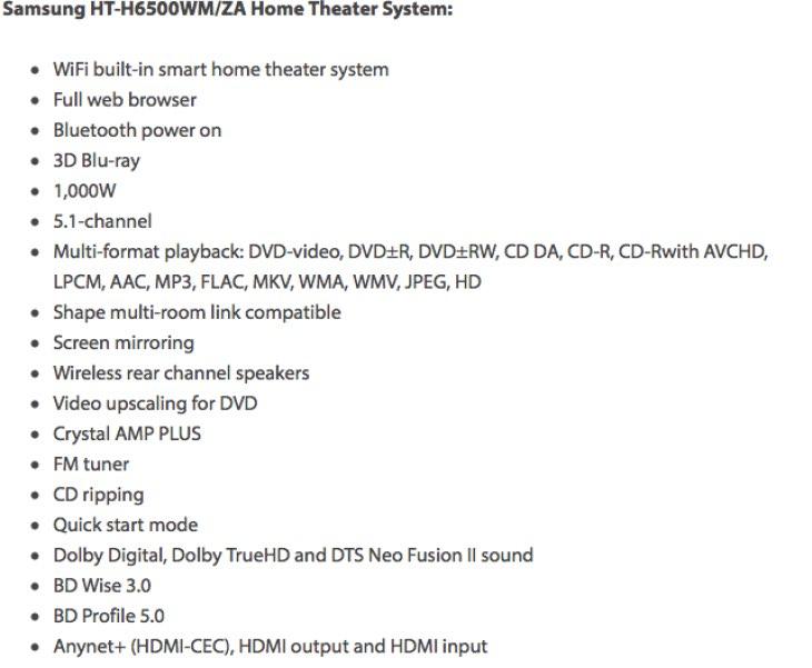 Samsung HT-H6500WM:ZA