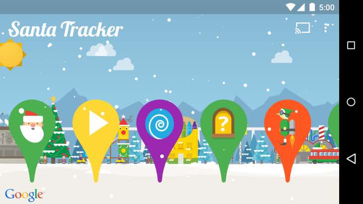 Santa tracker on Android Wear
