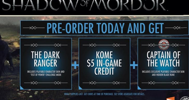 Shadow of Mordor PS4, PC, and Xbox One UK pre-order bonus