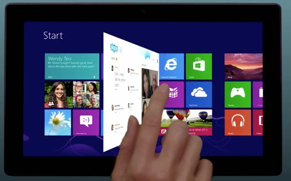Skype for Windows 8 visualized on tablet