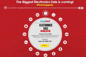 Snapdeal Electronics Sale registrations ends July 26