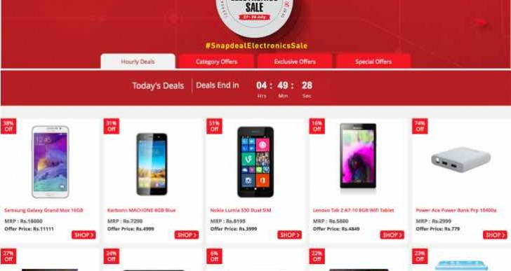 Snapdeal Electronics Sale items for July 27-28