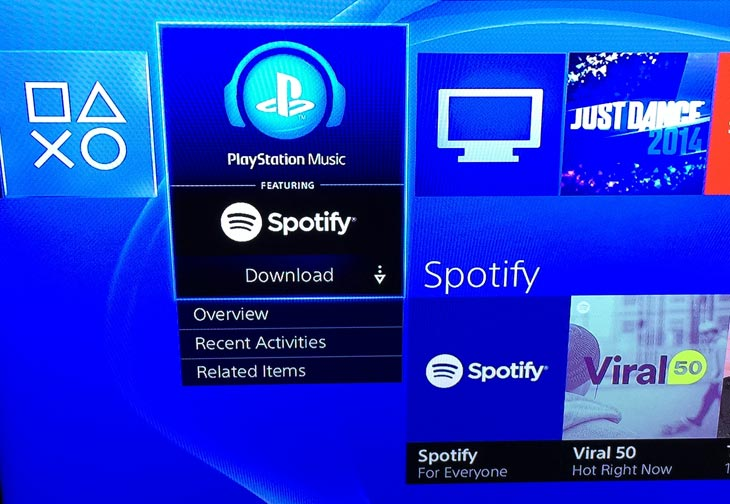 Spotify app live on PS4